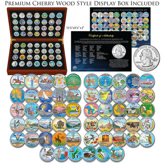 Colorized State Quarter 56 Coin Set 1999-2009 in Air-Tites & Cherry Wood Case