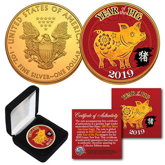 2019 Lunar Year Of The Pig 24K Gold Clad 1 Oz. Silver Eagle in Case