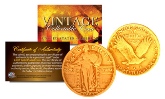 24K Gold Plated Standing Liberty Quarter Dated 1916-1930
