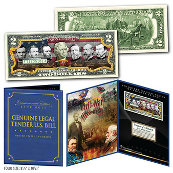 "American Civil War Famous Union Generals Commemorative Colorized $2 Bills in 8"" x 10"" Collector's Display"