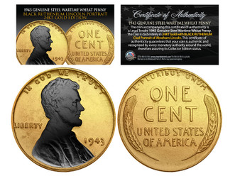 1943 24K Gold Clad & Black Ruthenium Highlights Abraham Lincoln Steelie WW II Penny
