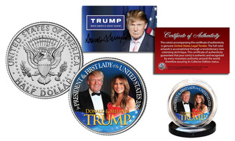 Donald & Melania Trump Colorized JFK Half Dollar