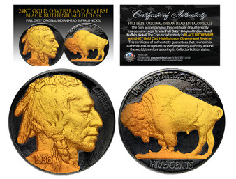 1930's Black Ruthenium 24K Gold Clad Original Indian Head Buffalo Nickel with Full Dates