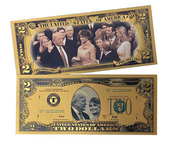 Donald & Melania Trump Inauguration Plated Lucky $2 Novelty Bill - Gold