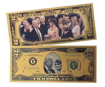 Donald & Melania Trump Inauguration Gold Plated Lucky $2 Novelty Bill