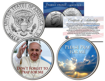 Pope Francis Pray For Me Colorized JFK Half Dollar 2 Coin Set
