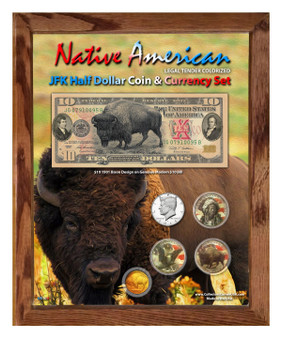"Native American Bison Colorized Coin & Currency Set in 8"" x 10"" Frame - Portrait"