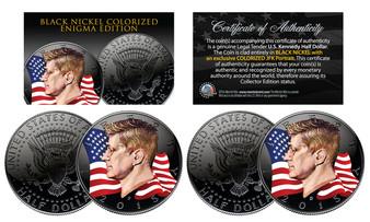 Black Nickel Clad Enigma JFK Half Dollar 2 Coin Set