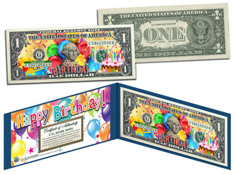 Happy Birthday Colorized $1 Bill