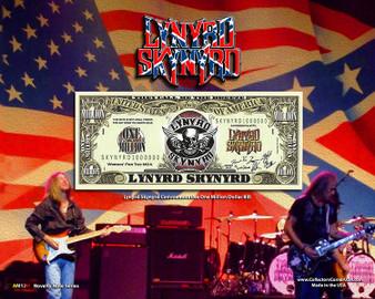 """""""Lynyrd Skynyrd"""" Novelty Million Dollar Bill Obverse Display on an 8"""" x 10"""" Display Card"""