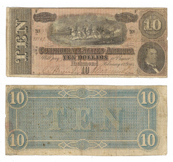 Confederate Currency 1864 $10 Note SN 98747