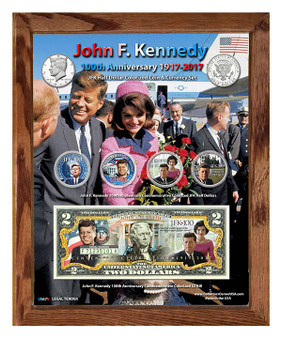 "John F. Kennedy 100th Anniversary 1917-2017 Colorized Coin & Currency Set in 8"" x 10"" Frame"