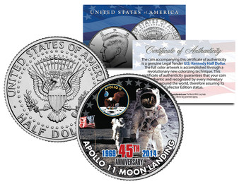 Apollo 11 45th Anniversary Colorized 2014 JFK Half Dollar