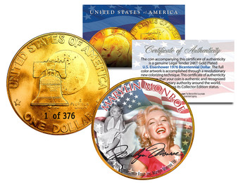 Marilyn Monroe 24K Gold Plated Serialized Ike Dollar