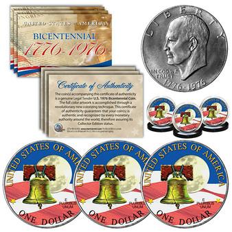 1976 Colorized Bicentennial Eisenhower Ike Dollars Liberty Bell Apollo Moon Set of 3