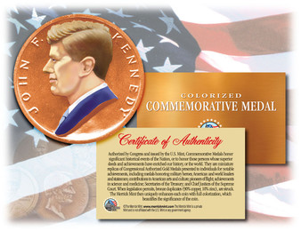 Colorized John F. Kennedy Colorized Commemorative U.S. Congressional Medal