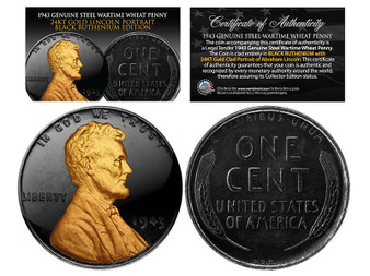 1943 Black Ruthenium & 24K Gold Highlights Abraham Lincoln Steelie WW II Penny