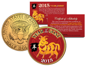 2015 Chinese Year of the Goat/Sheep 24K Gold Plated & Colorized JFK Half Dollar