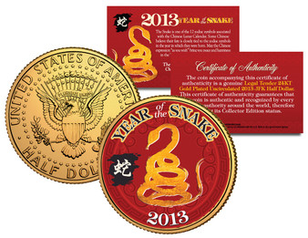 2013 Chinese Year of the Snake 24K Gold Plated & Colorized JFK Half Dollar