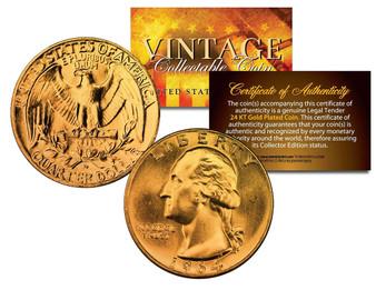 24K Gold Plated Vintage Silver Washington Quarter Dated 1960's