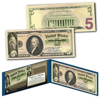 1861 Alexander Hamilton Demand Note Civil War $5 Banknote on Modern U.S. $5 Bill