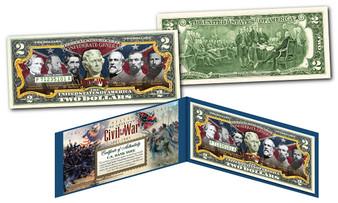 American Civil War Famous Confederate Generals Commemorative Colorized $2 Bill