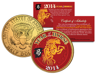 2014 Chinese Year of the Horse 24K Gold Plated & Colorized JFK Half Dollar