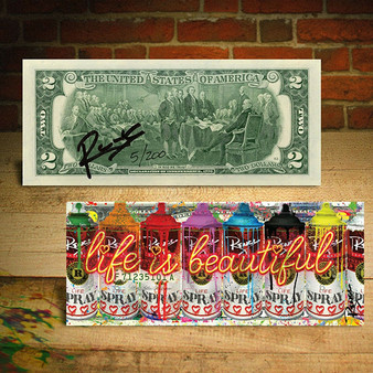 Life Is Beautiful -  Graffiti Spray Cans Limited Edition of 200 Signed Rency Colorized $2 Bill - Select from 3 types