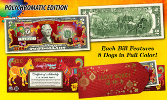 2018 Year Of The Dog Colorized $2 Bill Polychromatic 8 Dogs in Red Envelope