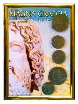 """Magna Graecia 450-323 BCE 5 Coin Set of Historical Replicas in 5"""" x 7"""" Frame"""