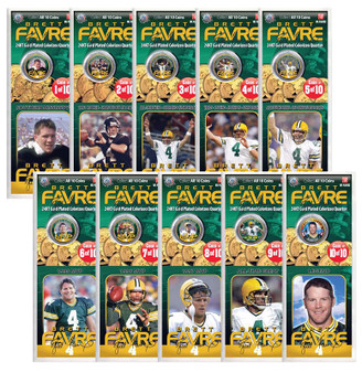 Brett Favre 24K Gold Plated and Colorized 10 Quarter Set