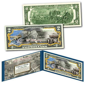 75th Anniversary End of World War II Colorized $2 Bill B-17 Flying Fortress