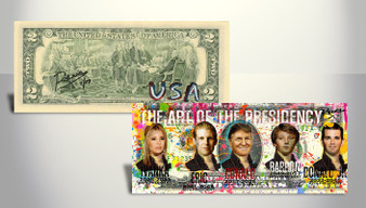 Rency Art Trump The Art of the Presidency Special Hi-Def Colorized $2 Bill Hand Signed Limited Edition of 17 World Wide