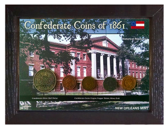 "Confederate Coins of 1861 5 Coin Set of Historical Replicas in 5"" x 7"" Frame"