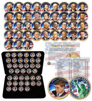 Complete Colorized 2-Sided Presidential Dollar Set (2007-2016) in Case