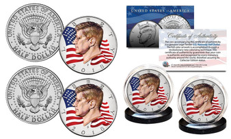 2018 Waving Flag Set of 2 Colorized JFK Half Dollars Includes Both P&D Mints