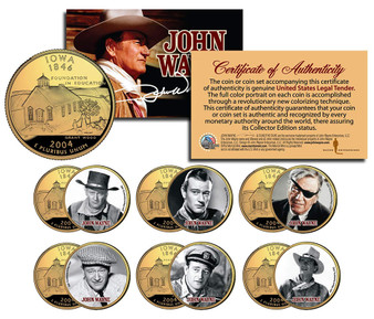 John Wayne Movies Colorized Iowa 24K Gold Plated 6-Coin Set 2