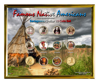 "Famous Native American Colorized Sacagawea Dollar 10 Coin Set in 8"" x 10"" Frame Landscape Design"