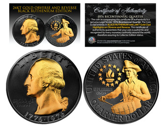 Black Ruthenium Clad 24K Gold Plated 1976 Bicentennial Quarter