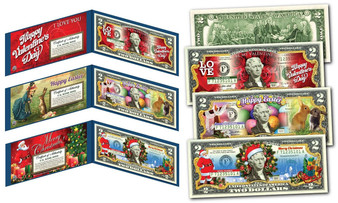 Holiday Collection Set of 3 Colorized $2 Bills