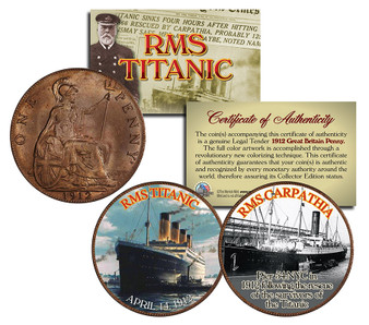 RMS Titanic & RMS Carpathia Colorized 1912 2 Coin Set