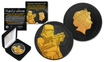 2018 NZM 1 Oz. Silver Star Wars Stormtrooper Coin 24K Gold On Black Ruthenium Limited Edition of 500