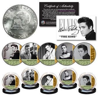 ELVIS PRESLEY 1950's Early Hits 1976 Bicentennial IKE Dollar 5 Coin Set