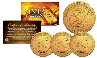 Set of 3 24K Gold Plated Susan B. Anthony $1 Coins