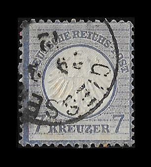 1872 #10 Small Shield 7 Kreuzer Cancelled