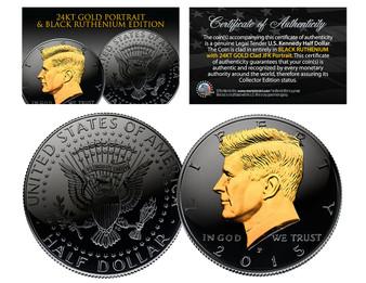 Black Ruthenium Clad JFK Half Dollar with 24K Gold Portrait - Select from 2014 P/D or 2015 P/D