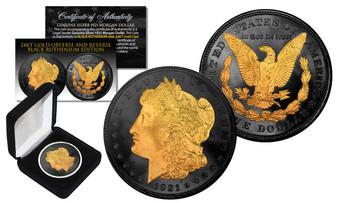 Black Ruthenium & 24K Gold Emblem 1921 Silver Morgan Dollar in Case