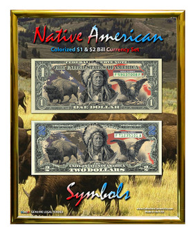"Native American Symbols Colorized $1 & $2 Bill Currency Set in 8"" x 10"" Frame"
