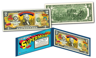 Happy Mother's Day Super Mom Colorized $2 Bill