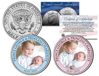 Prince George and Princess Charlotte Colorized JFK Half Dollar 2 Coin Set